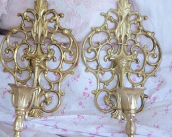 Ornate Metal Gold Sconces