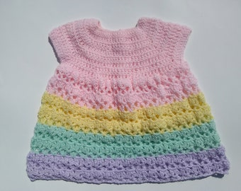 Pastel Baby Girl Dress, 3 to 6 Months