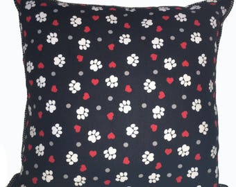 Paw Prints Pillow 17 x 17 Handmade Cuddly Soft Flannels