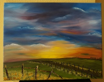 Dawn's Early Light, 14x11 Oil On Canvas, Sunrise Over The Land