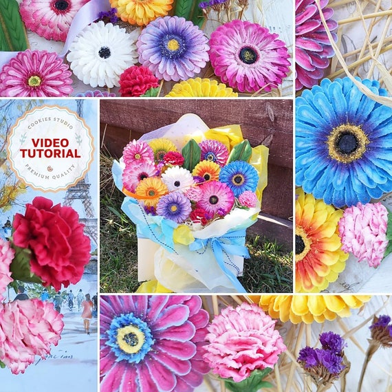 Gerberas and Carnations cookie decorating class. Step-by-step video tutorial
