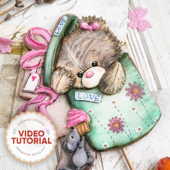 Bear in Box - cookie decorating class. Step-by-step video tutorial
