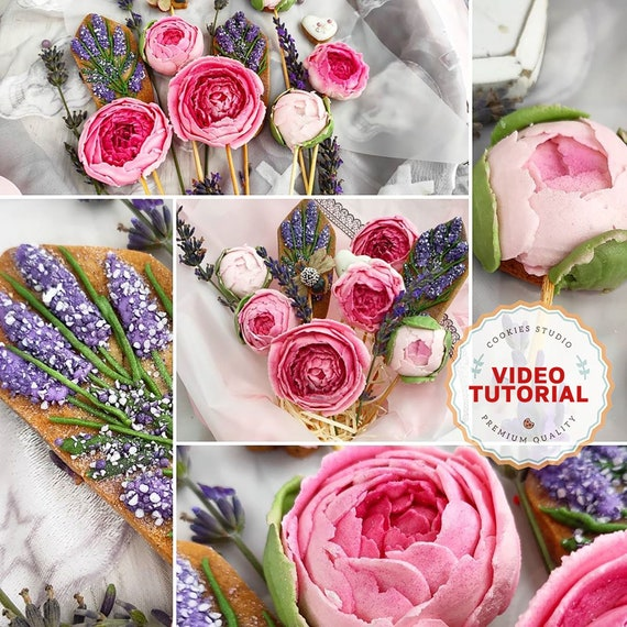 Peonies and Dried Flowers cookie decorating class. Step-by-step video tutorial
