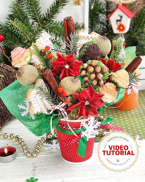 Christmas Flowers cookie decorating class. Bouquet #2. Step-by-step video tutorial
