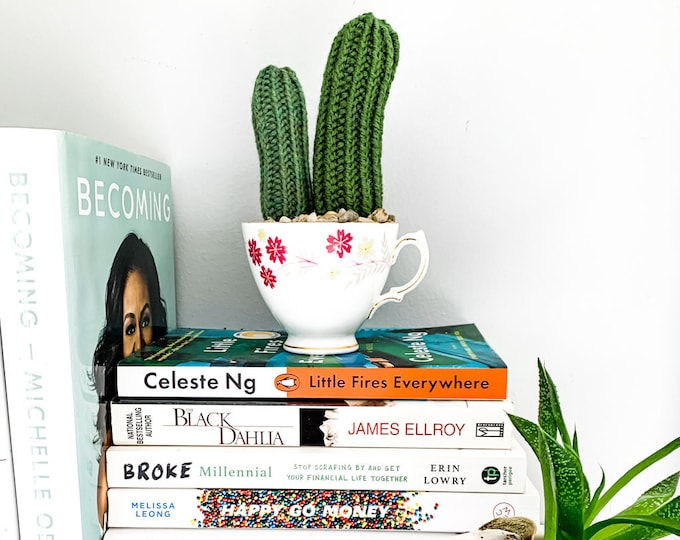 Knit Cactus // Pencil Cactus, Knit Pair of Pencil Cacti Planted in Up-cycled Vintage Tea Cup // Boho Home Decor