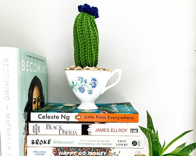 Knit Cactus // Pencil Cactus, Knit Cactus with Blue Flower Planted in Vintage Up-cycled Tea Cup // Boho Home Decor