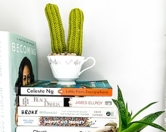 Knit Cactus // Pencil Cactus, Knit Pair of Pencil Cacti Planted in Up-cycled Vintage Tea Cup // Boho Home Decor // Home Office Decor
