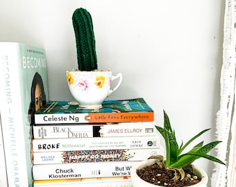 Knit Cactus // Pencil Cactus, Knit Cactus Planted in Vintage Up-cycled Tea Cup // Boho Home Decor // Home Office Decor // Desk Accessory