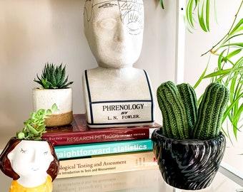 Knit Cactus // Pencil Cactus, Trio of Pencil Cacti in Up-cycled Black Pot // Boho Home Decor // Home Office Decor // Desk Accessory