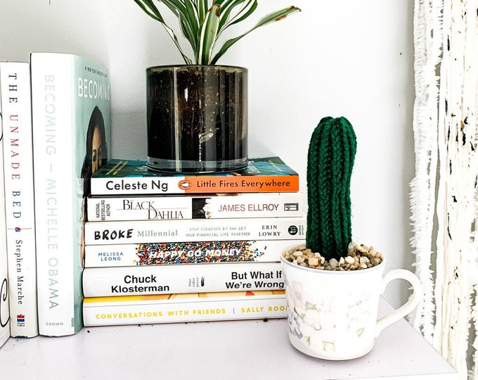 Knit Cactus // Pencil Cactus, Knit Cactus Planted in Vintage Up-cycled Tea Cup // Boho Home Decor