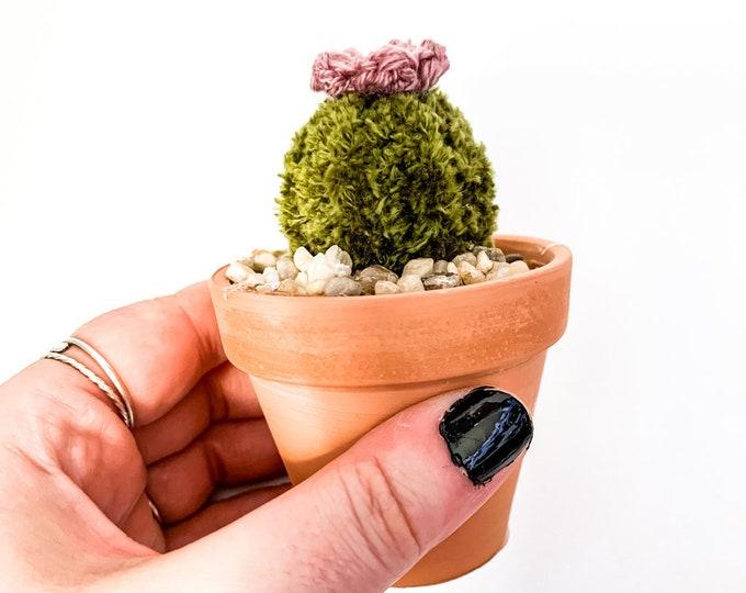 Knit Cactus // Barrel Cactus, Knit Cactus Plant with Purple Flower Planted in Mini Terracotta Pot // Boho Home Decor