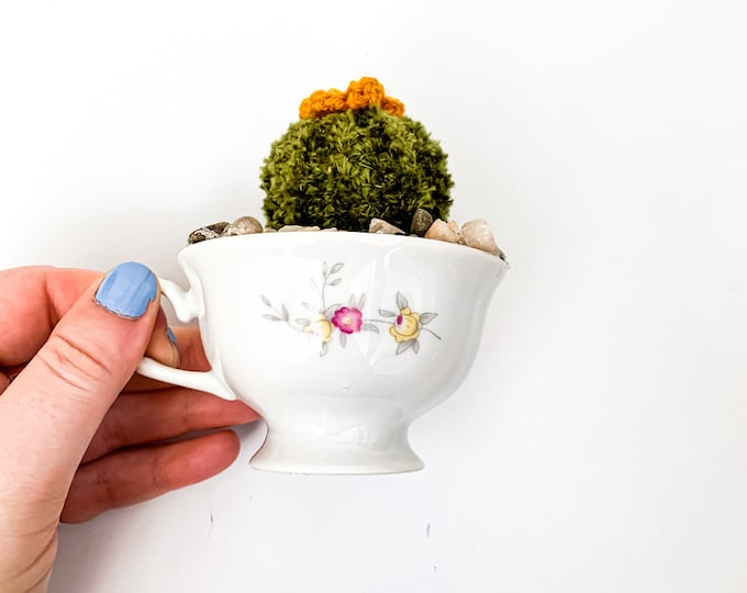 Knit Cactus // Barrel Cactus, Knit Cactus with Yellow Flower Planted in Up-cycled Vintage Tea Cup // Boho Home Decor