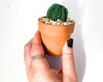 Knit Cactus // Barrel Cactus, Knit Cactus Planted in Mini Terracotta Pot // Boho Home Decor // Home Office Decor // Desk Accessory