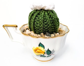 Knit Cactus // Barrel Cactus, Knit Cactus with White Flower Planted in Up-cycled Vintage Tea Cup // Boho Home Decor // Home Office Decor