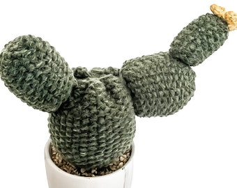 Knit Cactus //  Prickly Pear Cactus, Knit Cactus with Yellow Flower Planted in Up-cycled Marble Pot // Boho Home Decor // Home Office Decor
