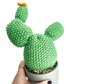 Knit Cactus //  Prickly Pear Cactus, Knit Cactus Planted in Up-cycled Grey Pot // Boho Home Decor // Home Office Decor // Desk Accessory