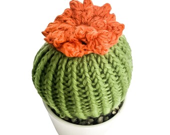 Knit Cactus // Barrel Cactus, Knit Cactus Plant with Orange Flower Planted in Up-cycled White Pot // Boho Home Decor // Home Office Decor
