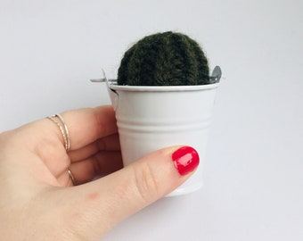 Knit Cactus // Barrel Cactus, Knit Cactus Planted in Mini White Pot // Boho Home Decor// Home Office Decor // Desk Accessory