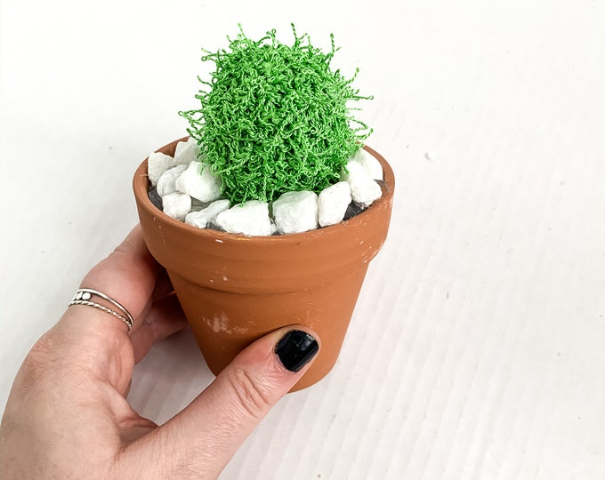 Knit Cactus // Barrel Cactus, Spiky Knit Cactus Planted in Terracotta Pot // Home Decor// Home Office Decor // Desk Accessory