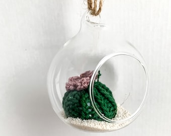 Knit Cactus // Miniature Air Plant, Barrel Cactus, Knit Cactus Plant with Purple Flower in Hanging Glass Terrarium // Boho Home Decor
