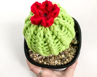 Knit Cactus // Barrel Cactus, Cactus with Pink Flower Planted in Black Glass Up-cycled Pot // Boho Home Decor // Home Office Decor