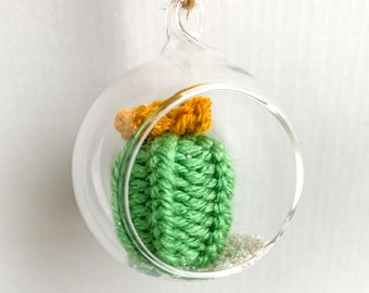 Knit Cactus // Miniature Air Plant, Barrel Cactus, Knit Cactus Plant with Yellow Flower in Hanging Glass Terrarium // Boho Home Decor