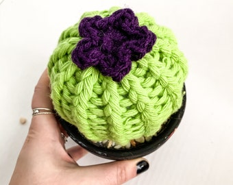Knit Cactus // Barrel Cactus, Knit Cactus with Purple Flower Planted in Black Terracotta Pot // Boho Home Decor // Home Office Decor
