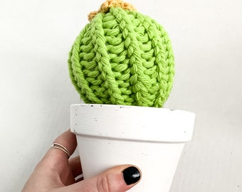 Knit Cactus //  Barrel Cactus, Knit Cactus with Yellow Flower Planted in White Terracotta Pot // Boho Home Decor // Home Office Decor