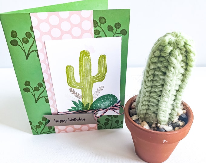 Happy Birthday Cactus Theme Greeting Card & Miniature Knit Cactus in Terracotta Pot Gift Set // Boho Decor // BLISSFUL NOTES COLLABORATION