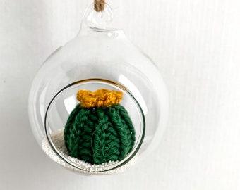 Knit Cactus // Miniature Air Plant, Barrel Cactus, Knit Cactus Plant with Yellow Flower in Hanging Glass Terrarium // Home Decor