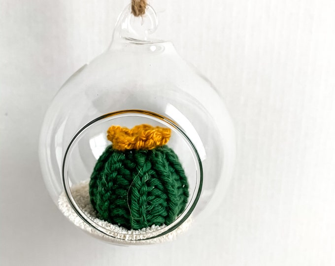 Knit Cactus // Miniature Air Plant, Barrel Cactus, Knit Cactus Plant with Yellow Flower in Hanging Glass Terrarium // Home Decor