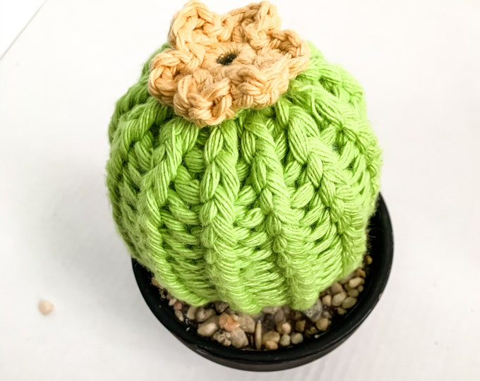 Knit Cactus // Barrel Cactus, Knit Cactus with Yellow Flower Planted in Black Terracotta Pot // Boho Home Decor // Home Office Decor