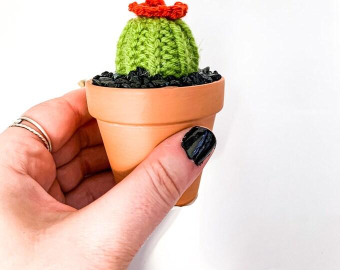 Knit Cactus // Barrel Cactus, Knit Cactus Plant with Orange Flower Planted in Mini Terracotta Pot // Boho Home Decor