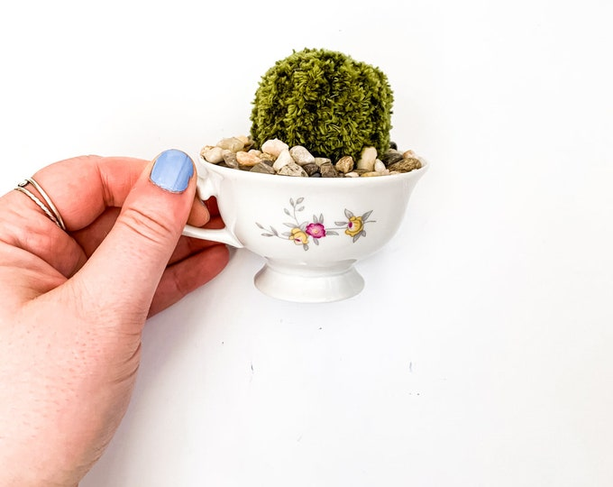 Knit Cactus // Barrel Cactus, Knit Cactus Planted in Up-cycled Vintage Tea Cup // Boho Home Decor