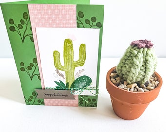 Congratulations Cactus Theme Greeting Card & Miniature Knit Cactus in Terracotta Pot Gift Set // Boho Decor // BLISSFUL NOTES COLLABORATION