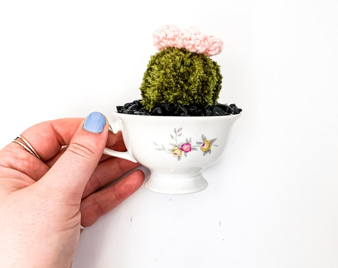 Knit Cactus // Barrel Cactus, Knit Cactus with Pink Flower Planted in Up-cycled Vintage Tea Cup // Boho Home Decor