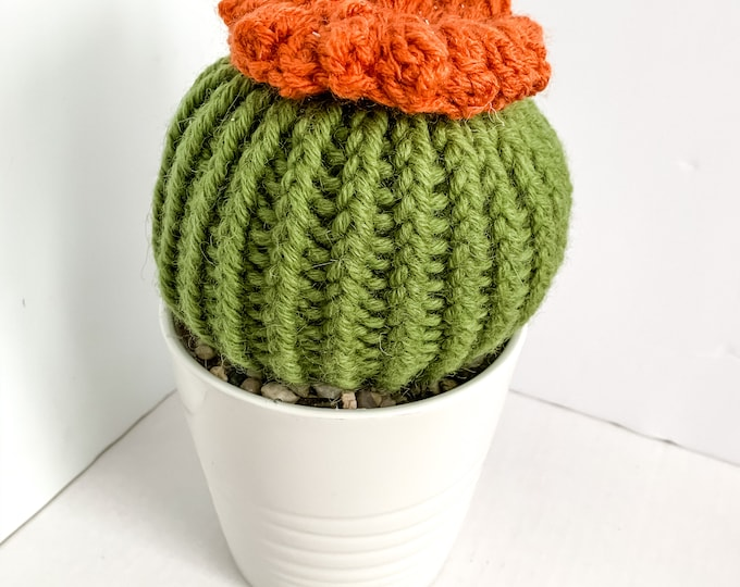 Knit Cactus // Barrel Cactus, Knit Cactus Plant with Orange Flower Planted in Up-cycled White Pot // Boho Home Decor