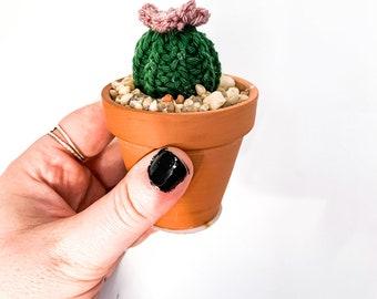 Knit Cactus // Barrel Cactus, Knit Cactus Plant with Purple Flower Planted in Mini Terracotta Pot // Boho Home Decor// Home Office Decor