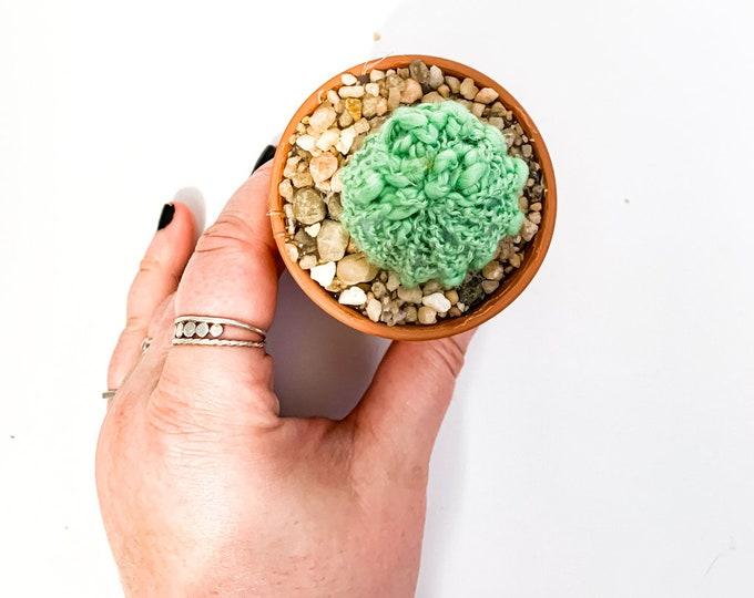 Knit Cactus // Barrel Cactus, Knit Cactus Planted in Mini Terracotta Pot // Boho Home Decor