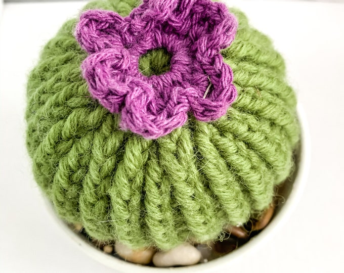 Knit Cactus // Barrel Cactus, Knit Cactus Plant with Purple Flower Planted in Up-cycled White Pot // Boho Home Decor