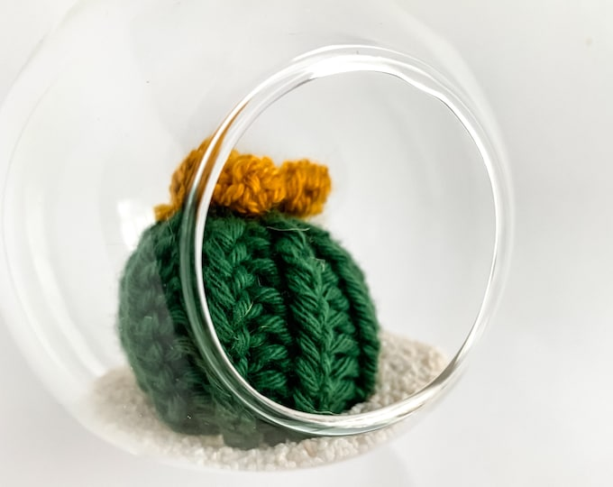 Knit Cactus // Miniature Air Plant, Barrel Cactus, Knit Cactus Plant with Yellow Flower in Hanging Glass Terrarium // Boho Home Decor