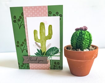 Thank You Cactus Theme Greeting Card & Miniature Knit Cactus in Terracotta Pot Gift Set // Boho Decor // BLISSFUL NOTES COLLABORATION
