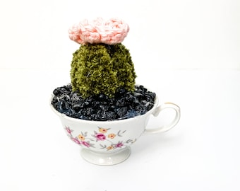 Knit Cactus // Barrel Cactus, Knit Cactus with Pink Flower Planted in Up-cycled Vintage Tea Cup // Boho Home Decor // Home Office Decor