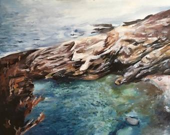 Rocky Beach - Original Acrylic Painting