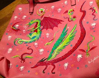 Hand-painted Vegan Leather Dragon Bag