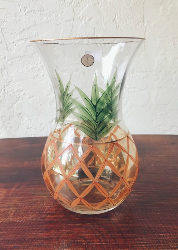 Vintage Crystal Clear Romanian Pineapple Vase Etsy