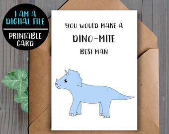 DIGITAL DOWNLOAD, Funny Best Man Proposal Card, Dinosaur, Card For Best Man, Downloadable, Will You Be My Best Man, Best Man Card