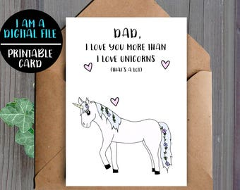 DIGITAL DOWNLOAD, Unicorn Dad Card, Printable, Dad Birthday Card, Unicorn Card, Card For Dad, Downloadable, Card For Father, Cute Dad Card