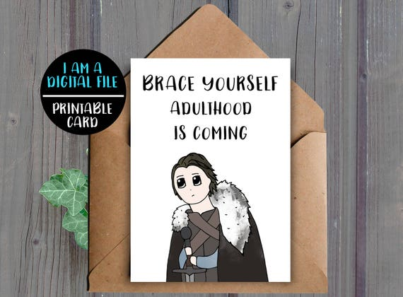 DIGITAL DOWNLOAD Game Of Thrones Birthday Card 21st