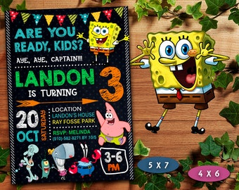 Spongebob Invitation Boy Birthday Printable Card Invite